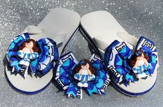 Cheer Girl Hair Bow with Polymer Bead by frecklefoxboutique