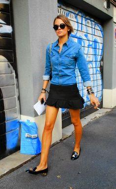denim chambray shirt + black skirt