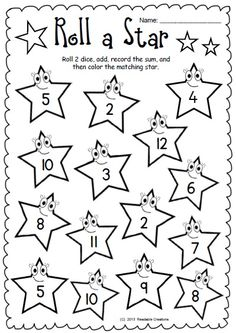 This free Math packet comprises 4 worksheets for skill practice using dice:  addition to 12;  addition to 18;   subtraction from 6;  subtraction from 12.