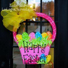 Easter Door Hanger, Easter Decoration, Easter Basket Door Hanger. $45.00, via Etsy.