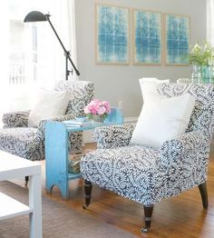 These bold chairs fit perfectly in this space. More decorating in gray: http://www.bhg.com/decorating/color/neutrals/decorating-with-gray/?socsrc=bhgpin082113graychairs=7