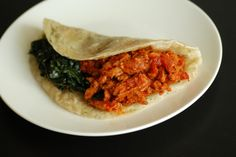 Caribbean Soy Curled Sloppy Joes with Creamed Greens Wrap #vegan