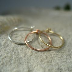 Thin Nose Rings Set Gold Silver and Pink Gold via Etsy $24.00