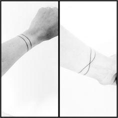simple, minimal, line wrist tattoo