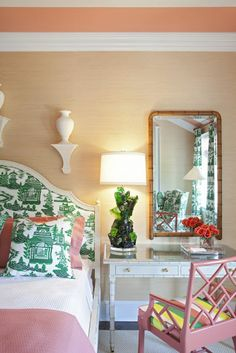 Love this pink and green bedroom!