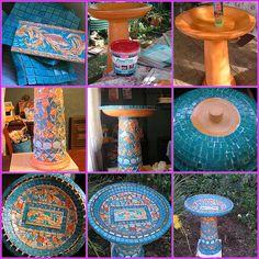 Mosaic Birdbath by Poppins Mosaics and Crafts, via Flickr