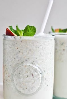Satisfy your sweet tooth with this Nectarine Mint Milkshake as the perfect mid-day snack.