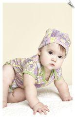Bedhead Lilac Sergeant Pepper Baby Onesie and Hat PJ