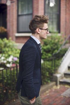 the navy blazer // tie, glasses, khakis