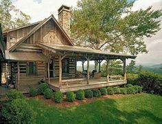 Log cabin wrap around porch