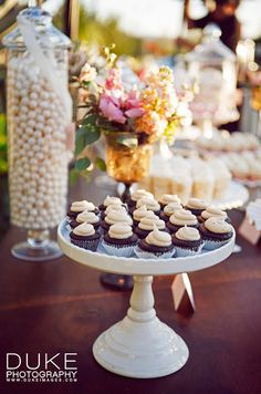 How fabulous are these miniature chocolate cupcakes? They're just one of the many tiny treats offered to guests.