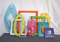 Bright Painted Frames & Mirror Set of 10 - Upcycled painted frame collection.. great for Gallery Wall/Cottage or Teen Girl Kids Bedroom