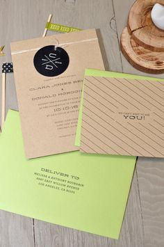 Modern Monogram Wedding Invitation on Kraft