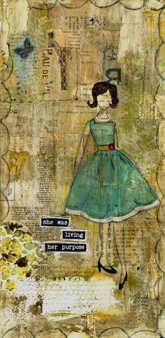 Jeanne Oliver Designs mixed-media piece...love this! mixed media vintage journals, purpos print, painting art, art journals, collag, artist, mix media, prints, mixed media art