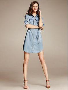 Chambray Shirtdress - Dresses