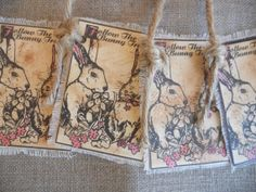 Gift Tags ~ Easter Tags ~ Bunny Tags Aged ~  by PebbleCreekDesigns