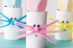 If you're looking for an easy Easter craft for kids this toilet paper roll bunny craft is perfect. We love to make crafts with toilet paper rolls. You can make your bunnies colored or white with