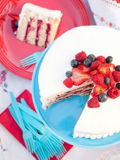 birthday parti, fourth of july, layer cakes, red white blue, 4th of july