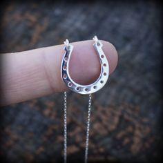 Silver Horseshoe Necklace - Sterling Silver Horseshoe Pendant . Womens Jewelry . Floating Horseshoe on Etsy, $36.00