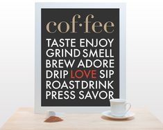 Coffee Typography Print - 11x14 Poster art modern kitchen wall decor cafe coffee house love brown red black gray clean classic design. $27.00, via Etsy.