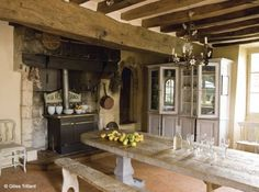 Chandelier & wood beams