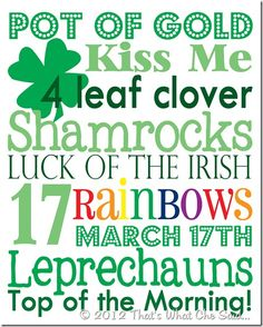 St. Patrick's Day Subway Art - Free Printable