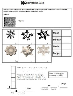 Snowflake Mean, Median, Mode, and Range- for Katy and the Big Snow or Snowflake Bentley