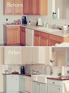 momtog diari, cabinet colors, kitchen makeovers, blue kitchens, farmhouse sinks, farmhouse kitchens, subway tiles, farmhous kitchen, white kitchens