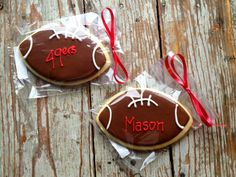 Personalized Football Cookies! Great end of season gift for the team and coaches. Made by Cookies by Cris in Westlake, Ohio.