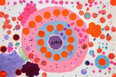 3 part Dot collage art project for 'the dot' by Peter Reynolds. From art is basic blog.