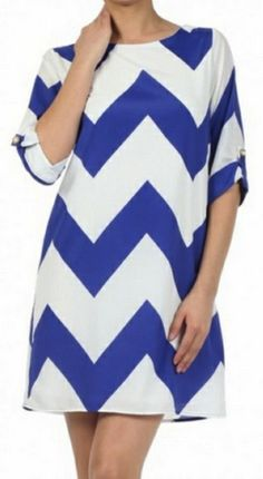 Chevron Tunic Dress- Cobalt Blue with 3/4 length sleeves by Everly