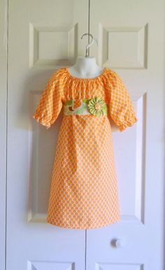 Girls Modern Peasant Dress with Sash and Flower Clip - 3 mos to size 10 - Tangerine Dot Groovy Floral