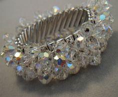 Vintage Bridal Bracelet Swarovski AB Crystals Cha Cha Style by AlexiBlackwellBridal, $49.00