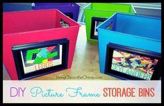 Get Organized: DIY Picture Frame Storage Bin