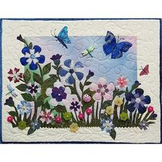 Mixed Media Art Quilt Garden Play- Button  Bead Embellished- 10x13 by Sue Andrus