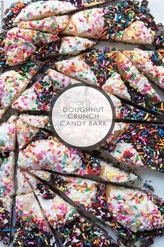 Chocolate Chip Doughnut Crunch Candy Bark-No Bake and easy to make. Fast!