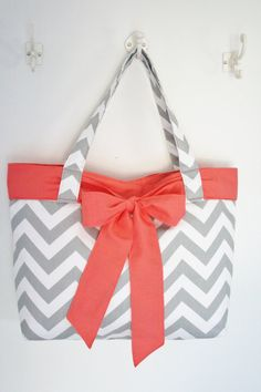 Grey Chevron Purse with Coral BowPink by allisonblaylock on Etsy, $45.00