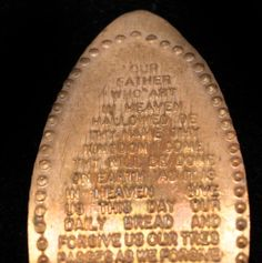 Vintage Elongated Pressed Penny Lord's Prayer.