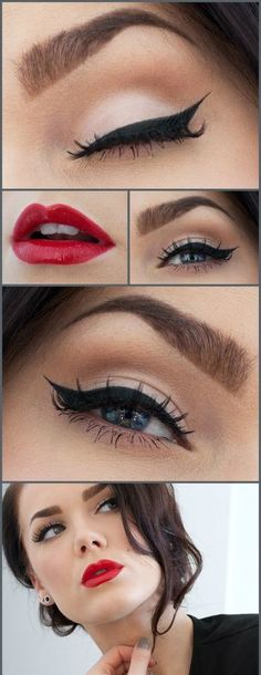Simple cat-eye liner and bold red lips = perfection made simple!