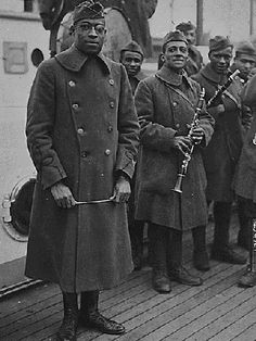 """James Reese Europe was an American ragtime and early jazz bandleader, arranger, and composer. He was the leading figure on the African American music scene of New York City in the 1910s. During World War I Europe obtained a Commission in the New York Army National Guard, and saw combat as a lieutenant with the 369th Infantry Regiment (the """"Harlem Hellfighters""""). He directed the regimental band to great acclaim. band leader, african americans, blackhistori, rees europ, harlem hellfighters, africanamerican, american arm, american jazz military band, black histori"""