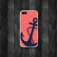 Anchor Cell Phone Case - Coral Chevron Cell Phone Case - iPhone case...4, 4s, 5, 5s, 5c, Samsung phone case S3 or S4