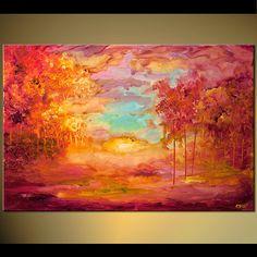 ORIGINAL Large Modern Pink Orange Cherry Blossoms by OsnatFineArt,