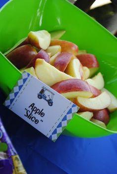 birthday golf, birthday parti, apple slices, golf birthday party, 3rd birthday, golf parti, parti idea, appl slice