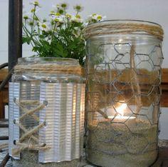 masons, craft, corner design, new life, chicken wire, tin cans, candl, mason jars, four corners