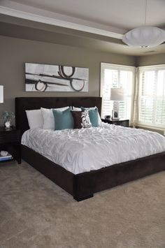 Teal and beige bedroom - Mocha Accent by Behr paint color. That's even the bedding we already have! wall colors, bed frames, beds, blue, bedroom walls, paint colors, master bedrooms, white bedding, paints