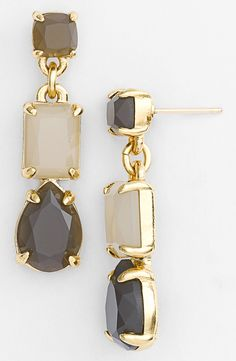 Oh, so lovely. Pairing these sparkly grey and gold stone linear earrings with a LBD.