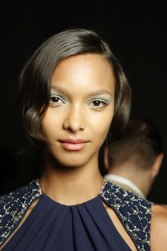 A definite wow-haircut from backstage at Badgley Mischka RTW Spring 2014