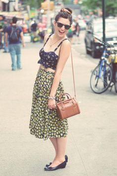 Emilee Anne wearing a vintage skirt and Marc by Marc Jacobs purse