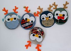 felt christmas ornaments, christma ornament, owl felt, reindeer and owl, owls