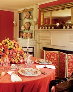 Orange-Red Dining Room